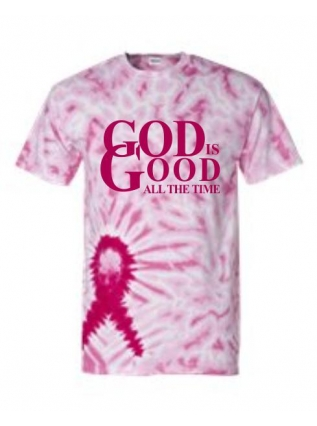 """God is Good"" Breast Cancer Awareness T-Shirt (Tie-Dye)"