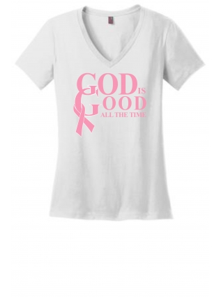 """God is Good"" Breast Cancer Awareness Fitted T-Shirt (White)"